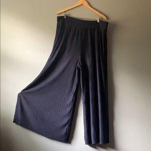 Anthropologie Plus Navy Textured Wide Leg Pants